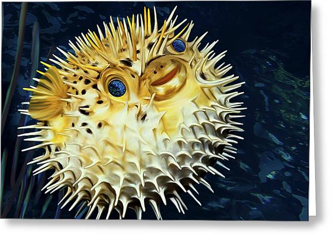 Porcupine Fish Digital Greeting Cards - Blowfish Greeting Card by Thanh Thuy Nguyen