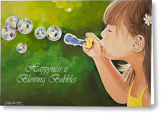 Bedroom Art Greeting Cards - Blowing Bubbles Greeting Card by Bill Dunkley