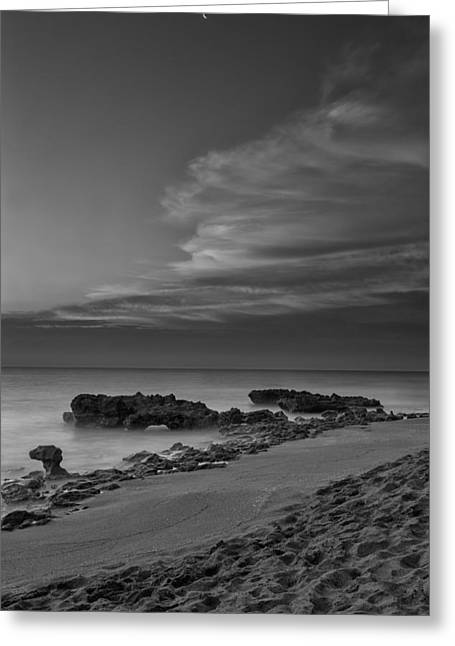 Florida Landscape Greeting Cards - Blowing Rocks Black and White Sunrise Greeting Card by Andres Leon