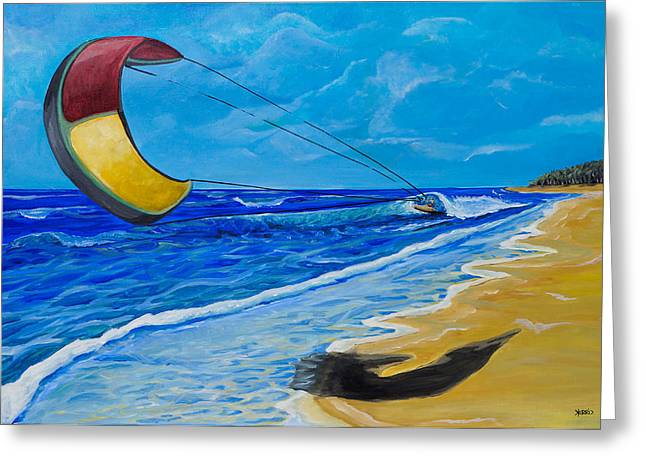 Wind Surfing Art Paintings Greeting Cards - Blown Away Greeting Card by Terri McCutchan