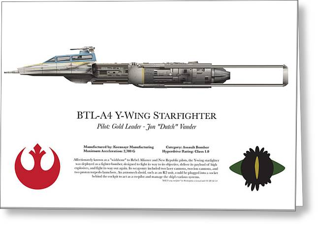 Y Wing Greeting Cards - BLT-A4 Y-Wing Starfighter Side View Greeting Card by Edo Design