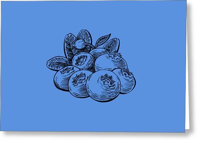 Blueberries Drawing Greeting Cards - Blueberries Group Greeting Card by Irina Sztukowski