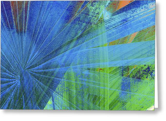 Vibrant Green Mixed Media Greeting Cards - Blue 2 Greeting Card by Kaypee Soh - Printscapes