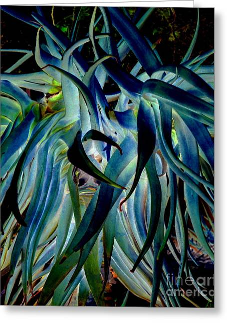 Blue Abstract Art Lorx Greeting Card by Rebecca Margraf