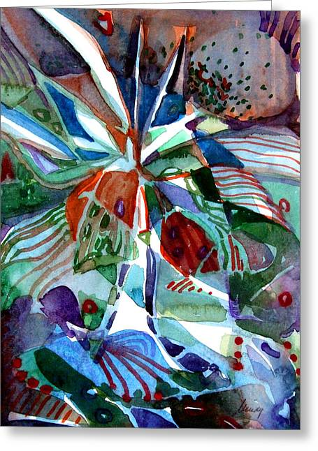 Abstract Design Drawings Greeting Cards - Blue Abstract Floral Greeting Card by Mindy Newman
