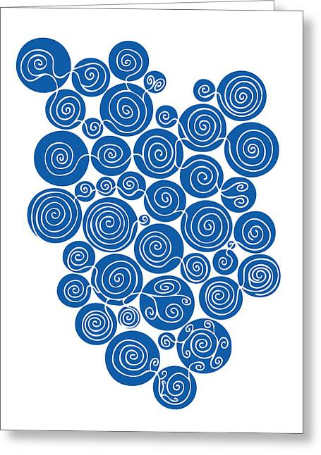 Swirly Greeting Cards - Blue Abstract Greeting Card by Frank Tschakert