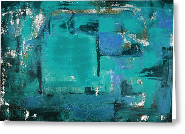 Gorna Greeting Cards - Blue Abstract Greeting Card by Gina De Gorna