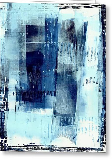 Lisa Noneman Paintings Greeting Cards - Blue Abstract I Greeting Card by Lisa Noneman