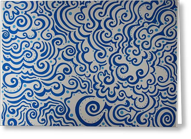 Sharpie Art Greeting Cards - Blue Abstract Greeting Card by Mandy Shupp