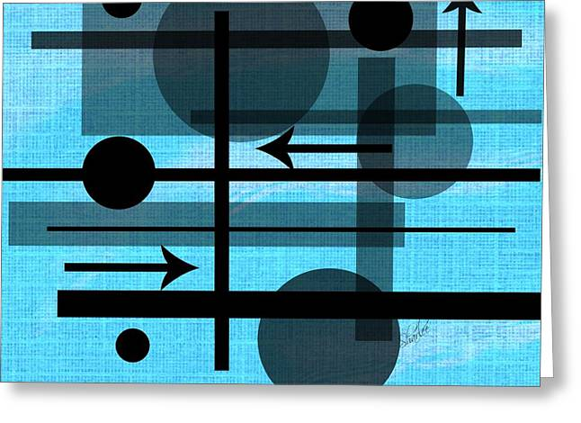 Grey Tapestries - Textiles Greeting Cards - Blue and Black Geometric Greeting Card by Sharon Johnston