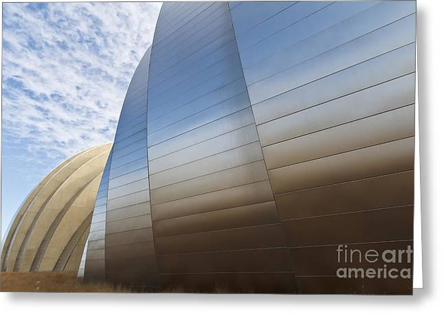 Symphony Hall Greeting Cards - Blue and Gold Greeting Card by Dennis Hedberg