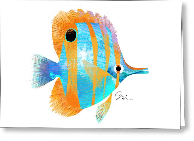 Blue And Gold Fish Greeting Card by Trevor Irvin