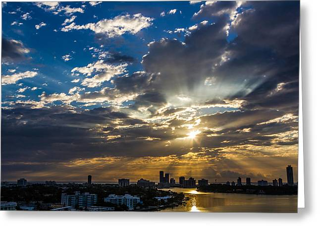 Miami Pyrography Greeting Cards - Blue and Golden Sunrise Greeting Card by Satoshi Kina