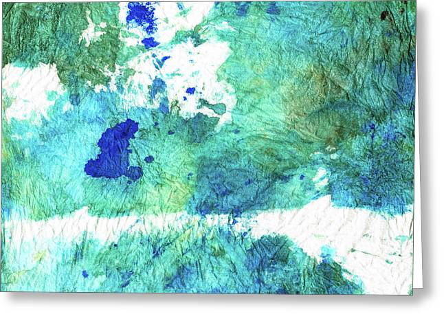 Blue And Green Abstract - Imagine - Sharon Cummings Greeting Card by Sharon Cummings