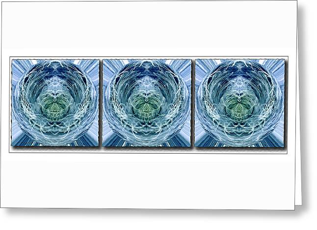 Geometric Effect Greeting Cards - Blue and Green Abstract Triptych Greeting Card by Pamela Reynolds