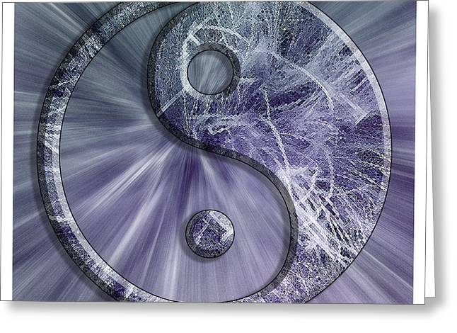 Yang Greeting Cards - Blue and Green Feather Yin Yang Greeting Card by Pamela Reynolds