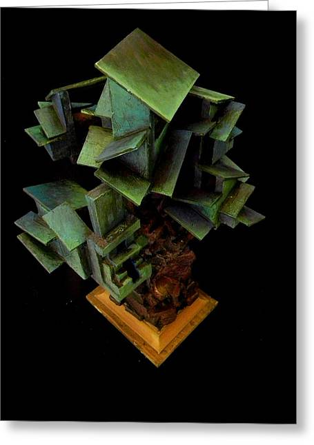 Cubist Sculptures Greeting Cards - Blue and Green Houses Greeting Card by Caleb Rogers