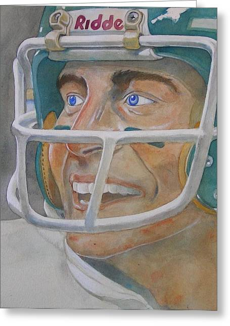 Pro Football Paintings Greeting Cards - Blue and Green Greeting Card by Nigel Wynter