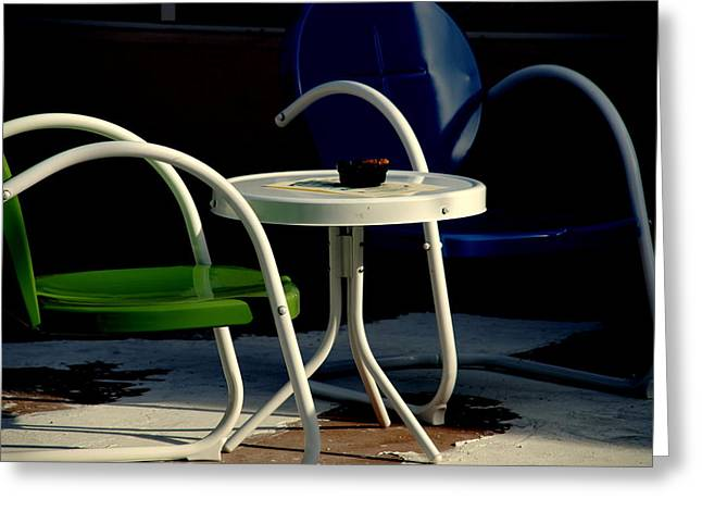 Table And Chairs Greeting Cards - Blue and Green Greeting Card by Susanne Van Hulst