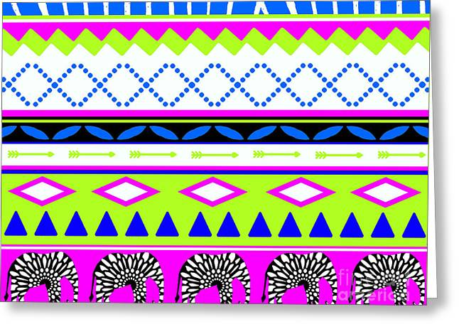 Home Decor Posters Mixed Media Greeting Cards - Blue and Lime Tribal Ethnic Shower Curtain  Greeting Card by ArtyZen Studios - ArtyZen Home