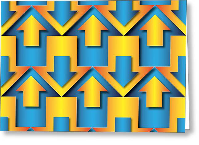 Orange Tapestries - Textiles Greeting Cards - Blue And Orange  Arrows Pattern Greeting Card by Jozef Jankola