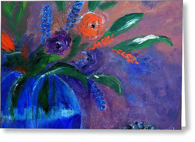 Blue And Orange Bouquet Greeting Card by Lisa Kaiser