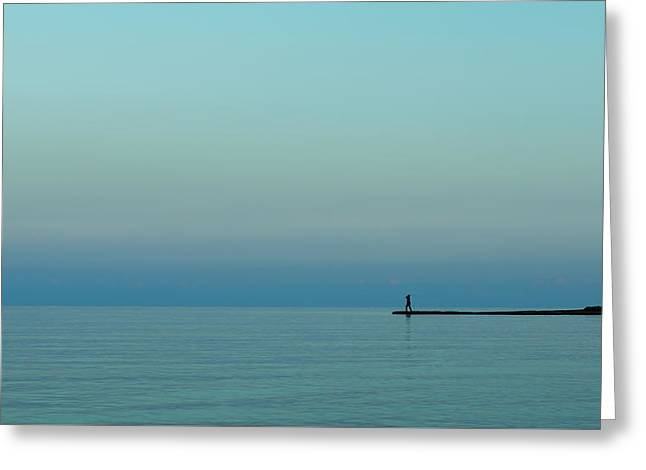 Blue And Peaceful Greeting Card by Stelios Kleanthous