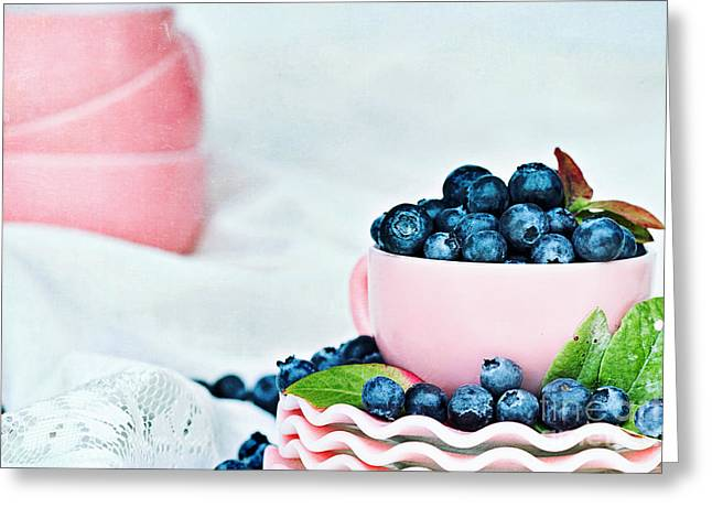 Cup Overflows Greeting Cards - Blue and Pink Greeting Card by Stephanie Frey