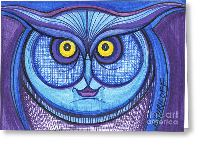 Original Owl Drawing Greeting Cards - Blue and Purple Owl Greeting Card by Nina Kuriloff
