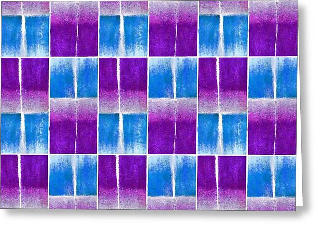 Blue And Purple Pattern Greeting Card by Patricia Strand