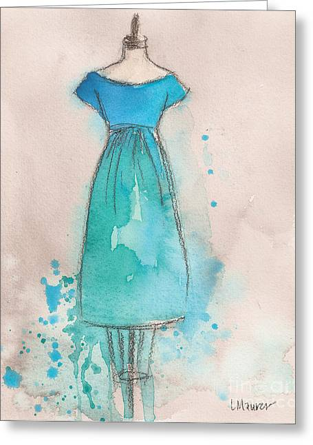 Loose Greeting Cards - Blue and Teal Dress Greeting Card by Lauren Maurer