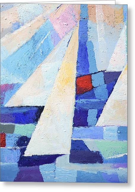 Blue Sailboats Greeting Cards - Blue and White Greeting Card by Lutz Baar