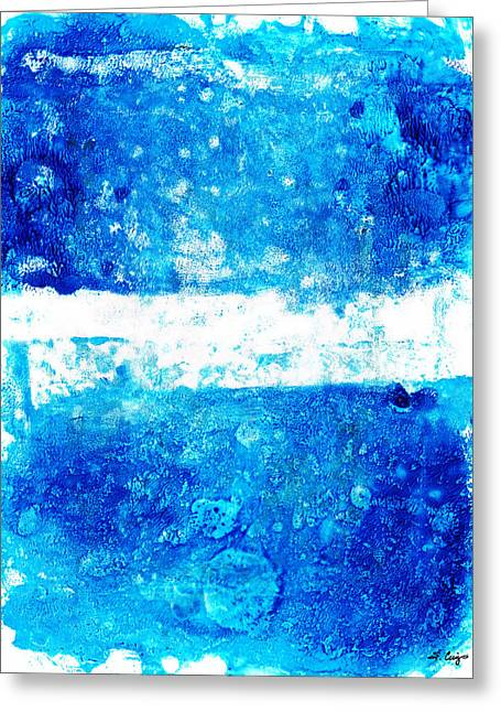 Blue And White Modern Art - Two Pools 2 - Sharon Cummings Greeting Card by Sharon Cummings