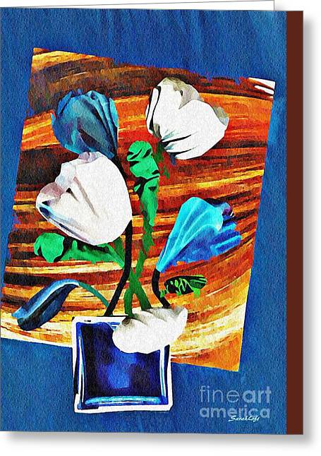 Blue And White Tulips Greeting Card by Sarah Loft