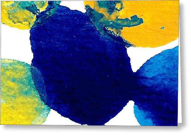 Blue And Yellow Interactions B Greeting Card by Amy Vangsgard