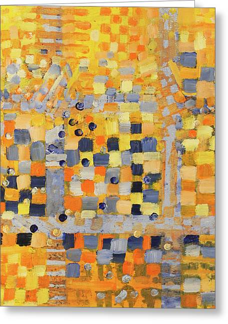 Geometric Abstraction Mixed Media Greeting Cards - Blue and Yellow Greeting Card by Irma   Ostroff