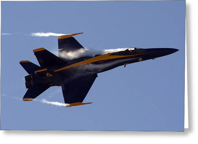Aviation Photos Greeting Cards - Blue Angel 4 Pulling a Vapor Trail into the Empty Air... Greeting Card by Strato  ThreeSIXTY