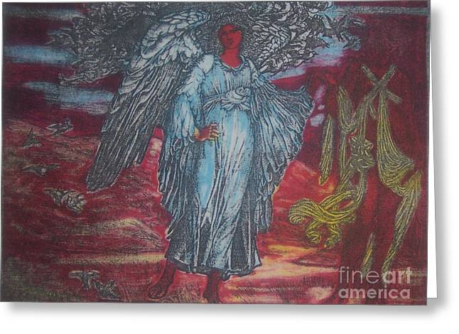 Winged Goddess Mixed Media Greeting Cards - Blue Angel Greeting Card by Emily Young