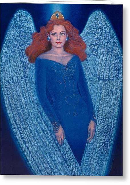 Winged Pastels Greeting Cards - Blue Angel Greeting Card by Sue Halstenberg