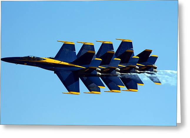 Aviation Photos Greeting Cards - Blue Angels 1-4 Greeting Card by Strato  ThreeSIXTY
