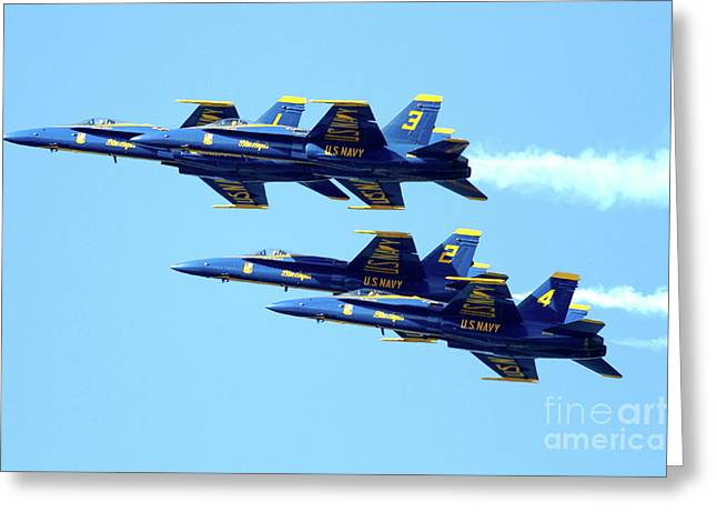 Jet Greeting Cards - Blue Angels 4 Team Formation 2 Greeting Card by Wingsdomain Art and Photography