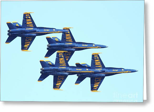 Jet Greeting Cards - Blue Angels 4 Team Formation 3 Greeting Card by Wingsdomain Art and Photography
