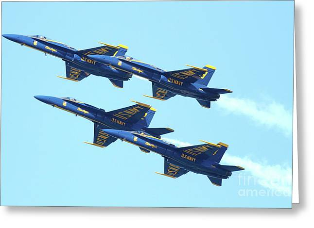 Jet Greeting Cards - Blue Angels 4 Team Formation Greeting Card by Wingsdomain Art and Photography