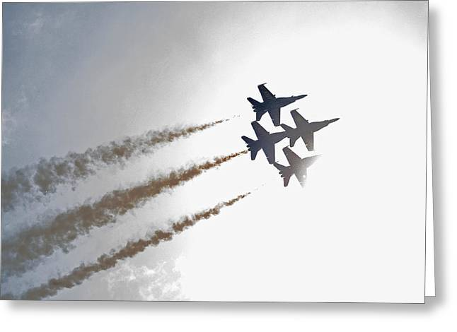 Angel Blues Greeting Cards - Blue Angels 7 Greeting Card by Susan  McMenamin