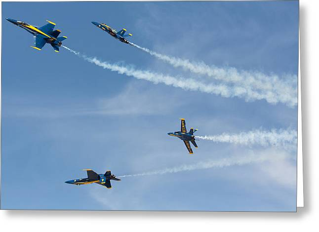 F-18 Greeting Cards - Blue Angels Break Greeting Card by John Daly
