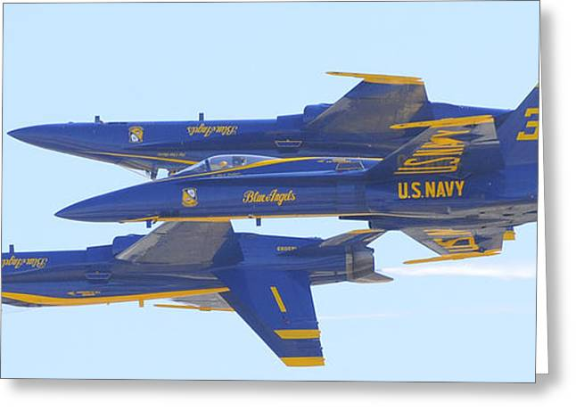 Angel Blues Greeting Cards - Blue Angels Close Together Greeting Card by Clarence Alford