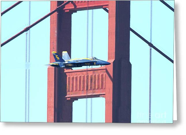 Jet Greeting Cards - Blue Angels Crossing the Golden Gate Bridge 10 Greeting Card by Wingsdomain Art and Photography