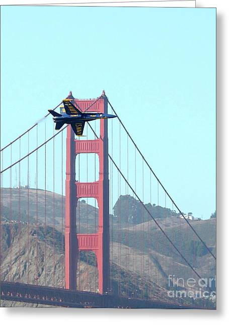 Brdige Greeting Cards - Blue Angels Crossing the Golden Gate Bridge 3 Greeting Card by Wingsdomain Art and Photography