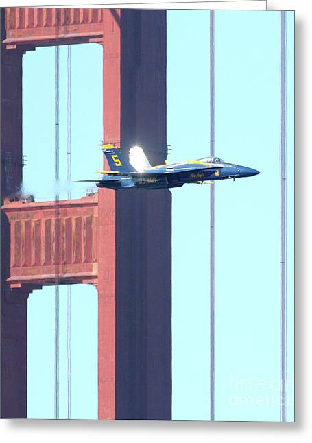 Jet Greeting Cards - Blue Angels Crossing the Golden Gate Bridge 7 Greeting Card by Wingsdomain Art and Photography
