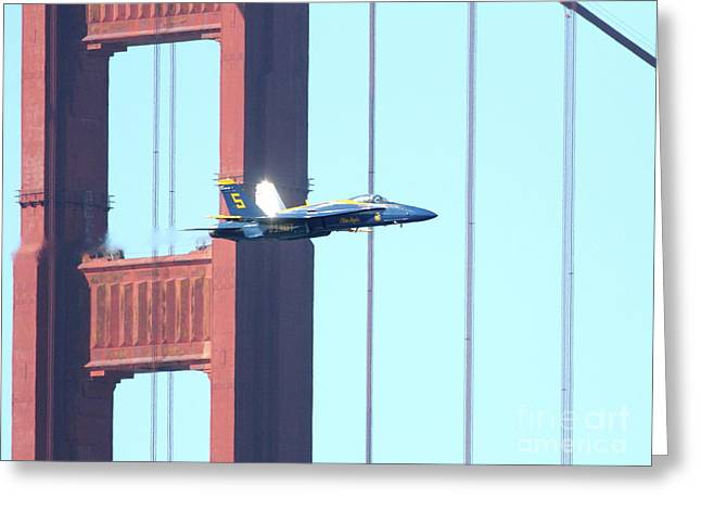 Jet Greeting Cards - Blue Angels Crossing the Golden Gate Bridge 8 Greeting Card by Wingsdomain Art and Photography